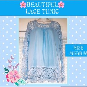 Tops - 🔥🔥 3/$15 Gorgeous blue lace detail tunic